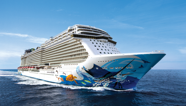 Norwegian Escape during Sea Trials along the coast of Norway.Norwegian Cruise Line